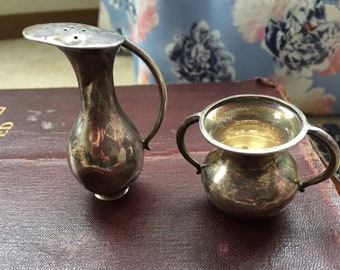 Small SILVER 950 Sterling Salt bowl and pepper cellars/ shakers ANTIQUE 950 Silver