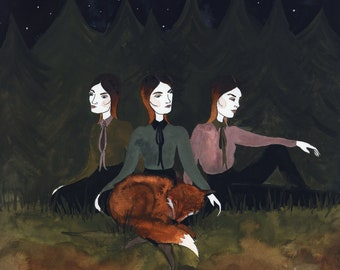 The Fox-Haired Girls Original Watercolor Illustration
