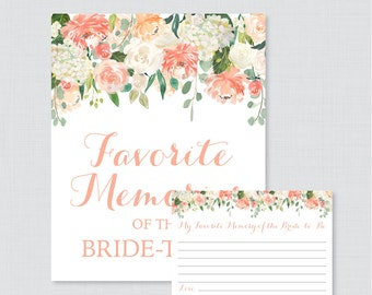 Peach Favorite Memories of the Bride To Be Activity - Printable Floral Bridal Shower - Peach and Cream Bridal Shower Memory Activity - 0028