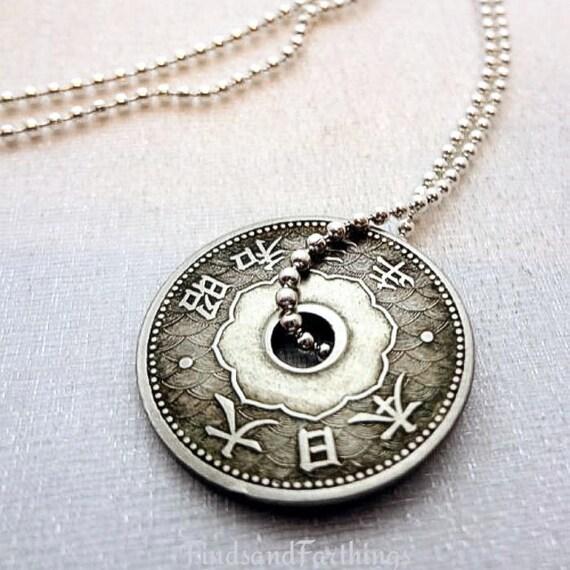 Antique japanese coin necklace 10 sen coin japan necklace aloadofball Gallery