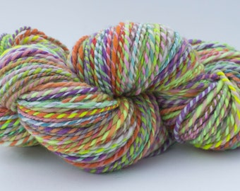 Hand Spun and Hand Dyed Yarn- Wool/Nylon/Stellina, 250 yards, Bulky Weight- Easter Blooms