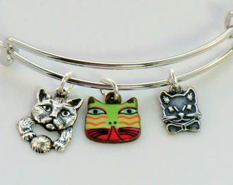 SALE! Green and pink cat charm bangles, stackable kitty cat bracelets, cat and ball of yarn, cat bow tie, enamel cat face charm, adjustable