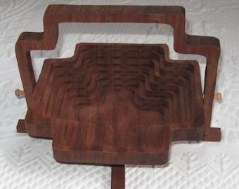 Collapsable Wood Basket . Teak Basket . Collapsable Teak Basket . Mid Century Modern Basket
