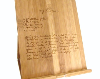 Bamboo iPad Stand with Handwritten Recipe - Recipe Stand for iPad, Kindle, Nook - Tablet Stand