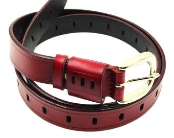 Traditional gold buckle leather belt