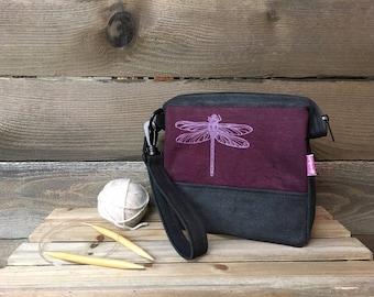 Waxed Canvas Mini/Small Project Bag - Dragonfly Bag - Knitting Bag - Screen Printed Bag