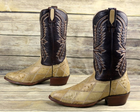Rudel Western 9 Size Wide EE Mens Ostrich Extra Patchwork Brown Cowboy Boots RxrPpR