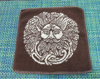 """Vintage 1970's Brown and White Reversible Washcloth with Man with Horns """"Kherty"""" Figure - vintage washcloth, vintage towel"""