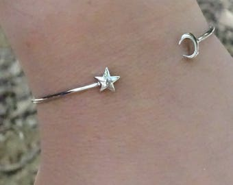 Moon Star Bangle / Bracelet in silver plated open