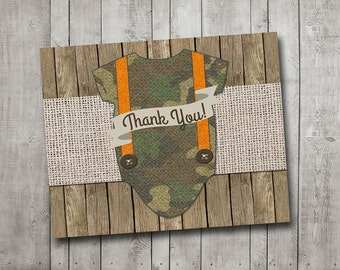 Boy Baby Shower Thank You Card Camo Camouflage Hunter Hunting Orange Suspenders Wood Burlap Rustic Printable Custom Digital File