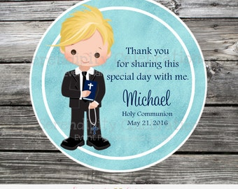 First Holy Communion, Baptism, Confirmation, Religious, Set of 12 Personalized Boy Favor Tags, Stickers, Thank You Tag, Blue watercolor