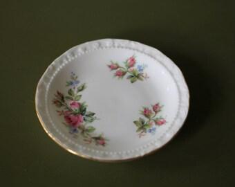 Vintage Royal Albert Moss Rose Pin / Trinket Dish / 1956