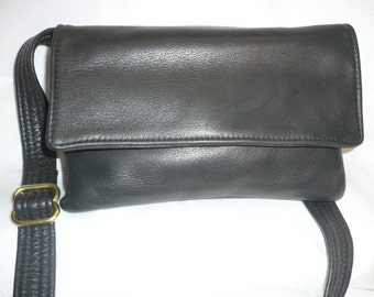Naked leather fanny pack, shoulder bag, and clutch wallet combo.Style #903 FP