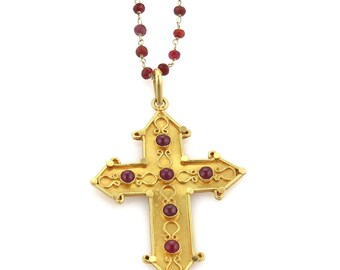 20373 - Ruby Cross Pendant Bead Chain Necklace in Solid 22k Gold