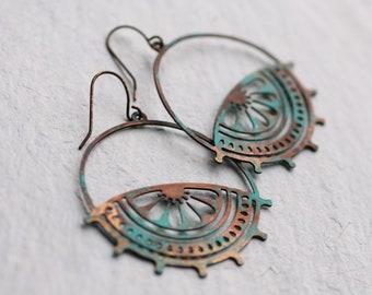 Bohemian Turquoise Earrings, Filigree Earrings, Peasant Earrings, Festival Jewelry, Boho Earrings, Gifts for Her, Beach Earrings
