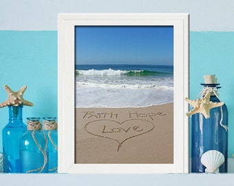 Faith Love Hope Sign - Baptism Gift - Unique Wedding Gift- Inspirational Sign - - Blue Ocean- Office Decor- Housewarming Gift- Wedding Gift