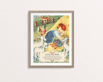 "Digital Little Boy Blue nursery rhyme poster / 8"" by 10"" / downloadable, printable / vintage boy Mother Goose digital print / wall art /"