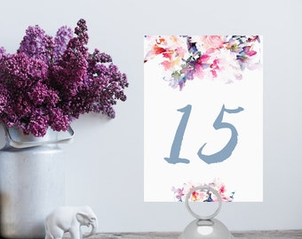 Instant Download - Floral Watercolor Table Number 1-20 - DIY Printable Table Numbers - Jessica