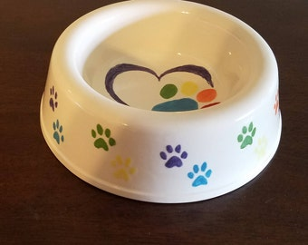 Large Rainbow Paw Print Dog Bowl