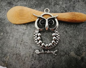 1pc, Openwork, OWL pendant OWL pendant, owl with black eyes, silver, 50 x 28 mm