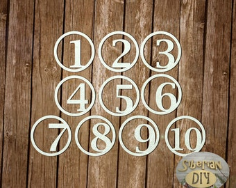 """Laser Cut Chipboard A Set Of """"Numbers [8]"""""""