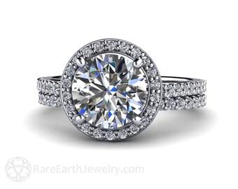 Moissanite Engagement Ring and Wedding Band Moissanite Ring Diamond Halo Conflict Free Diamond Alternative Bridal Set