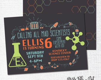 Science Birthday Party Invitation, Printable, Scientist Invite, Experiments, Slime, Chemistry, Museum, Center