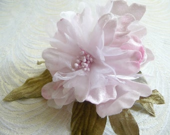 Bright pink 45 large silk flowers with rhinestone millinery velvet and silk millinery flower pale pink peony with leaves for fascinators hats weddings 3fn0092p mightylinksfo