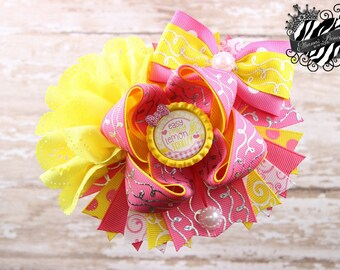 Pink Yellow Hair Bow - One of a Kind Bow - Over the Top Bow - Layered Boutique Bow - Toddler Hair Bows - Girls Hair Bows - 6 Inch Hair Bow