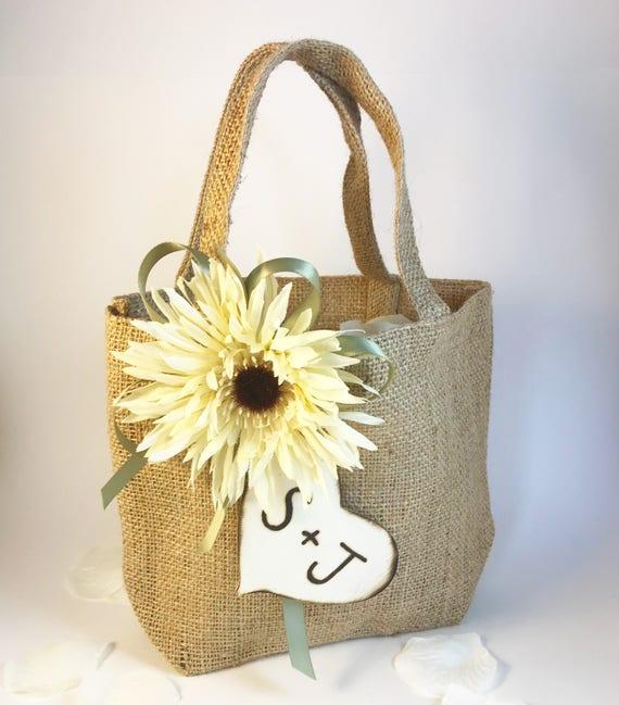 Rustic Wedding Burlap Flower Girl Bag, Personalized flower girl basket, rustic burlap bag, sunflower flower girl bag, rustic Easter basket