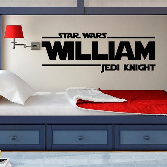 Star Wars Wall Decal Star Wars Boys Name Wall Decals Jedi