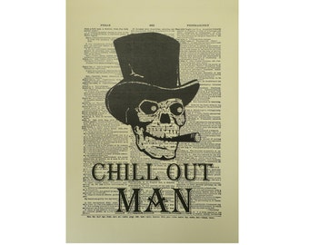 Vintage Inspired Chill Out Man Dictionary Page Art Print P004