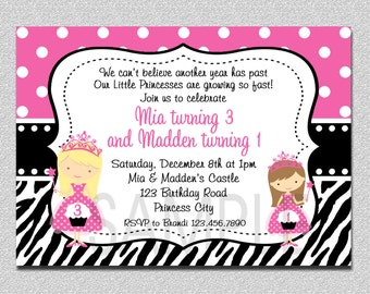 Twins Princess Birthday Invitation, Twins Princess Pink and Black Siblings Birthday Invitation, Cupcake Twins Birthday Party Invitation