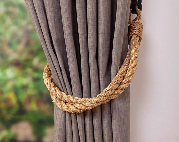 Rustic Manila Rope Curtain Tiebacks/ Shabby Chic ties/Vintage /Nautical tiebacks/Chunky Thick Ties/ Industrial holdbacks/ Rope Tiebacks/Ties