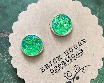 12mm Green Druzy Earrings