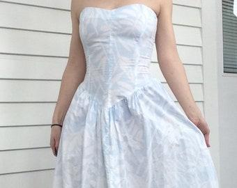80s Strapless Dress Summer XXS Vintage 1980s Pale Blue White Cotton