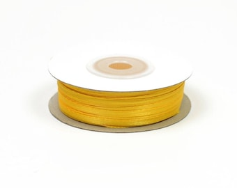 3mm - reel 50 m ref 645 yellow satin ribbon