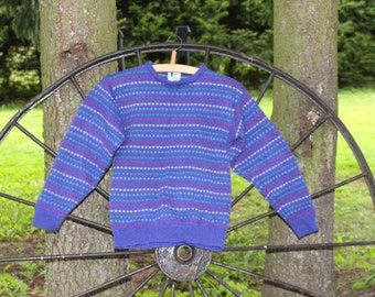 Vintage Laura Ashley pure wool sweater Blue purple wool jumper Vintage wool sweater Size small Purple wool pullover Country style Crew neck