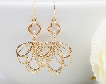 Earrings Gold-plated peach apricot petals