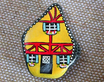 Villa Chalet painted rock paperweight