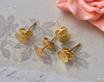 6 mm Golden Plated Earring Posts With Earring Stoppers (.ma)