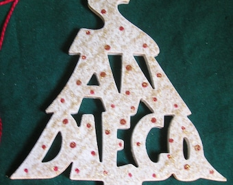 San Diego, handcrafted tree shaped ornament