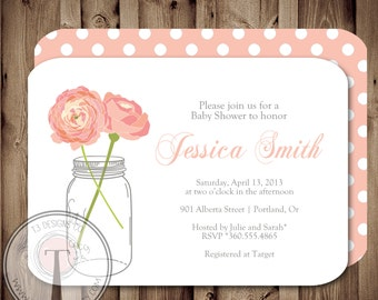 BABY GIRL Baby Shower Invitation, baby shower invite, mason jar baby shower, mason jar, flowers, baby,pink, front and back