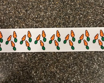 7/8  inch wide ribbon Carrots  on White  Grosgrain Ribbon  Easter Bunny Rabbit