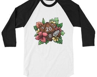 Tropical D20 3/4 sleeve raglan shirt - D&D Tabletop Gaming