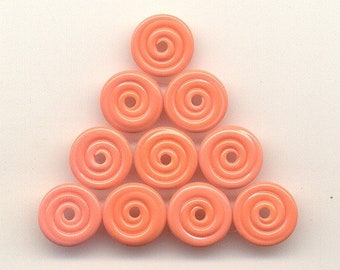 Pairs, Tom's handmade lampwork opaque peachy apricot 2 MINI disc spacers, 1 pair, 95456C