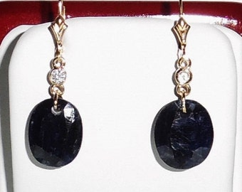 27 cts Natural Oval Blue Sapphire gemstones, 14kt yellow gold Leverback pierced earrings