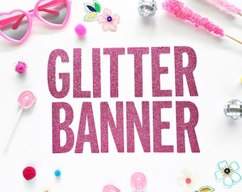 Custom Glitter Banner/ Personalized Banner/ Garland/ Mermaid/ Unicorn/ Flamingo/ Baby Shower/ Bridal Shower/ 30th Birthday/ Birthday Banner