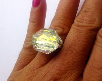 Swarovski AB Ring, Swarovski Ring, Aurora Borealis Ring, Sparkly Ring, Cocktail Ring, Graphic Cut Ring