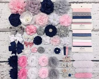 DIY Headband Making Kit - Navy, Pink, Grey and White Baby Shower Headband Station - MAKES 10+ or 25+ HEADBANDS! - SHK1216 / HK280